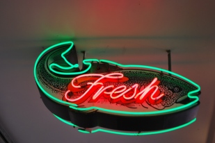 Fresh fish neon sign, Pike Place Market Seattle